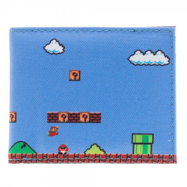 Nintendo Super Mario 8-Bit Level Sublimated Bi-Fold Wallet - Blue