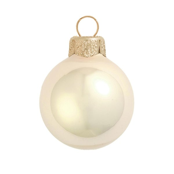 "4ct Pearl Champagne Gold Glass Ball Christmas Ornaments 4.75"" (120mm)"