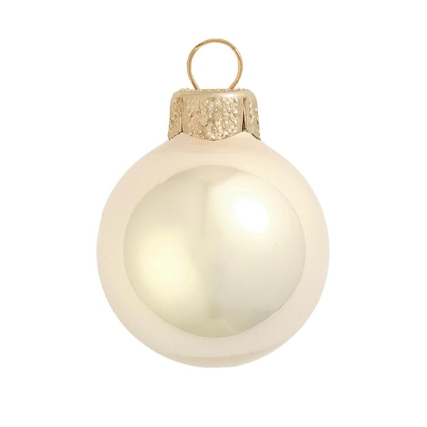 "6ct Pearl Champagne Gold Glass Ball Christmas Ornaments 4"" (100mm)"