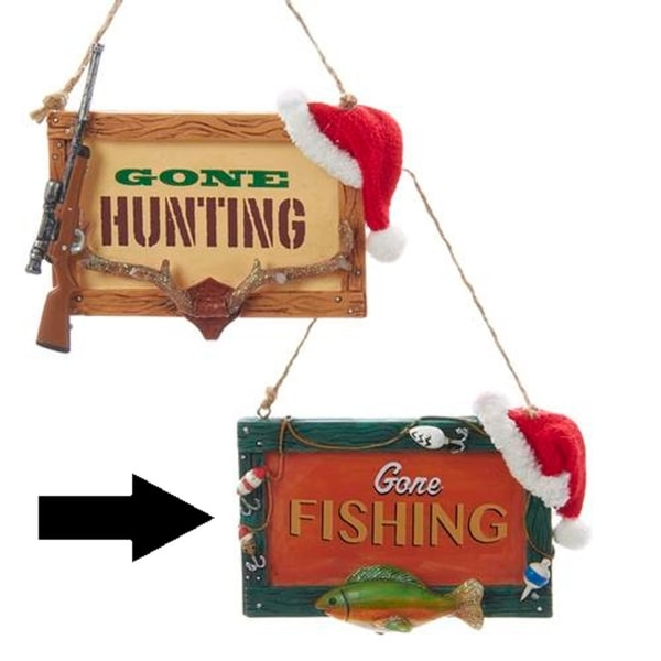 """4.5"""" Gone Fishing Lure and Fish Plaque Christmas Ornament"""