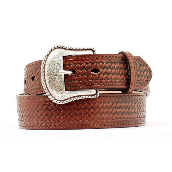 Nocona Western Belt Mens Basket Weave Leather Brown