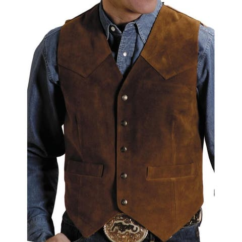 Roper Western Vest Mens Leather Tall Sand Suede
