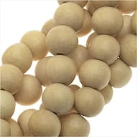 Pukalet Wood Beads, Dyed Smooth Round 6mm, 66 Pieces, Natural Lacquer