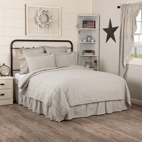 Hatteras Seersucker Blue Ticking Stripe Quilted Coverlet