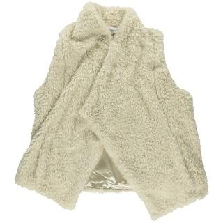 Calvin Klein Womens Faux Fur Open Front Casual Vest