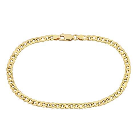 "Miadora 8.5"" 4 mm Flat Curb Link Golden Bracelet in 18k Yellow Gold"