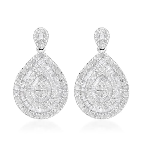 Platinum Over 925 Silver Diamond Cluster Earrings Ct 1.2 I3 Clarity