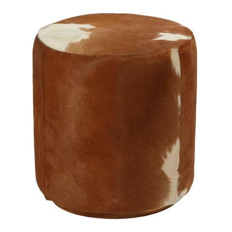 Bare Decor Bella Accent Ottoman in Genuine Leather Hide, Brown