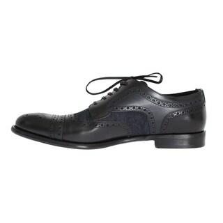 Dolce & Gabbana Dolce & Gabbana Black Leather Blue Denim Dress Formal Shoes - eu44-us11