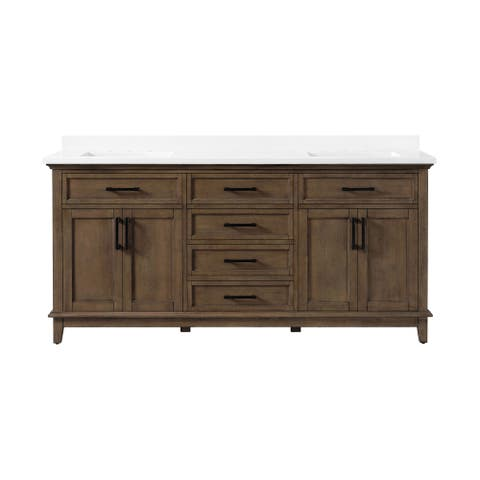 OVE Decors Derry 72 in. Double Sink Vanity Almond Latte Power Bar