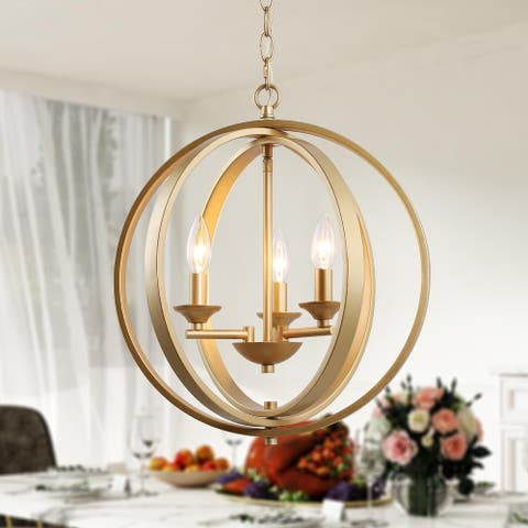 "Modern Glam 3-light Chandelier Pendant Light Fixture Gold Ceiling Lighting for Dining Room - W15.5""x H18"""