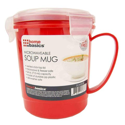 Home Basics Microwaveable Soup Mug With Vented Lid, Red, 24 Ounces