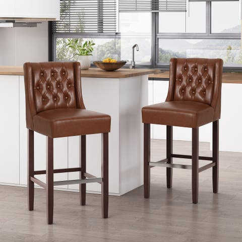 Bayliss Contemporary Wingback Barstools (Set of 2) by Christopher Knight Home