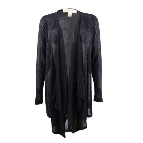 Michael Michael Kors Women's Open-Front Cardigan (S, Black) - Black - L