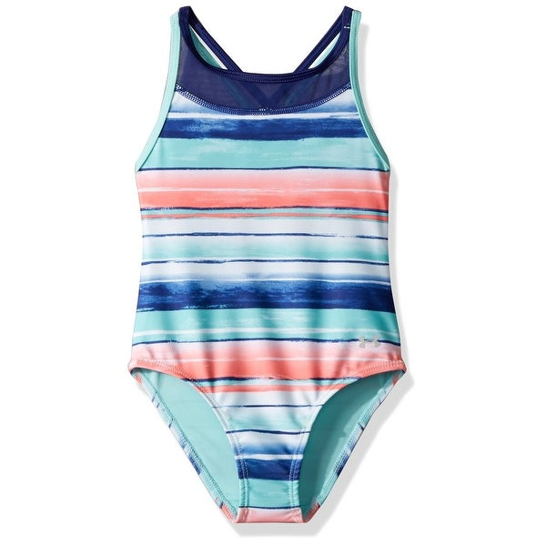 7a78a955f7a Under Armour Blue Pink Girl's Size 8 Swimsuit Striped Mesh Swimwear