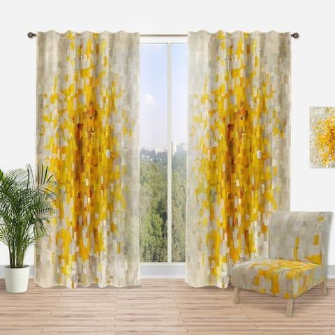 Designart 'Glam Yellow Explosion Blocks' Modern Curtain Panel