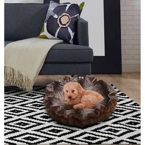 """Bessie and Barnie Ultra Plush Godiva Brown/ Frosted Glacier Luxury Deluxe Dog / Pet Cuddle Pod Bed - 30"""""""