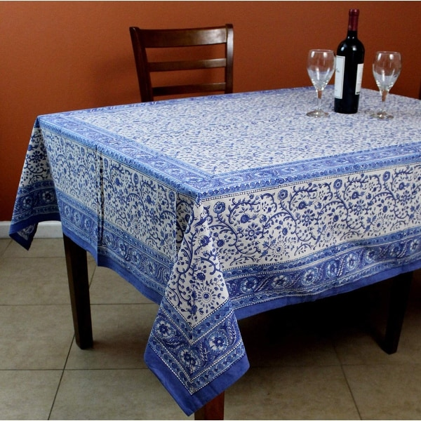 Shop Rajasthan Block Print Floral Round Tablecloth