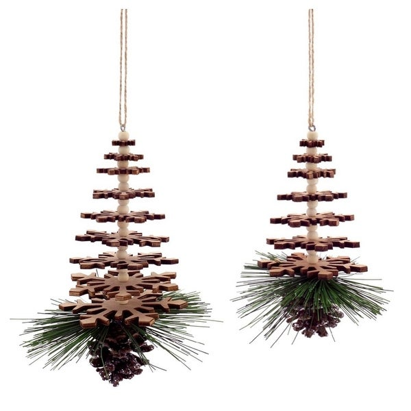 """Pack of 12 Wood Snowflake Tree with Pine Accents Christmas Ornaments 6""""-7.5"""""""