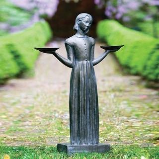 Outdoor Garden Sculpture - Savannah's Bird Girl 24-inch Statue Without Pedestal