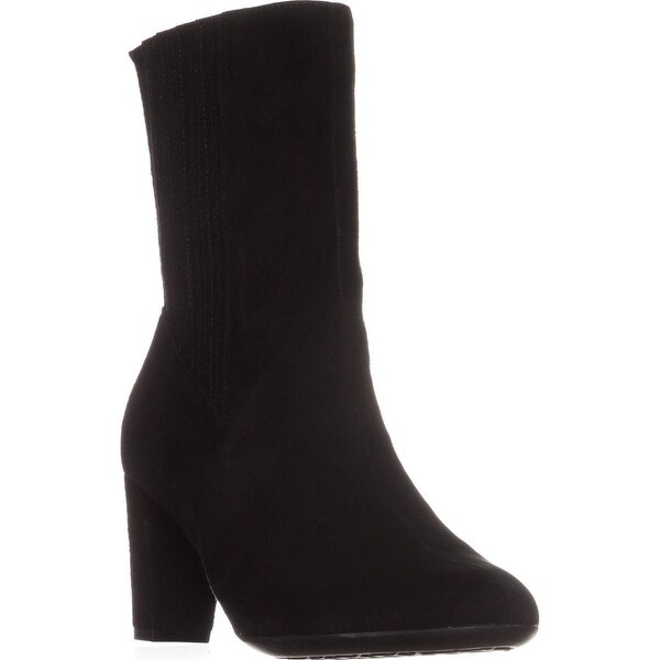 Aerosoles Fifth Ave Mid Calf Boots, Black Suede