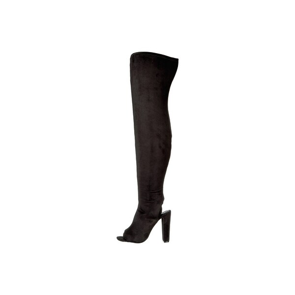 Steve Madden Womens KIMMI Peep Toe Over Knee Fashion Boots