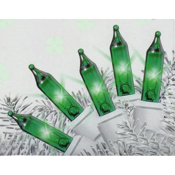 set of 35 energy saving green mini christmas lights white wire