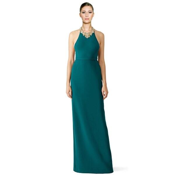 Shop Marchesa Notte Beaded Crepe Halter Evening Gown Dress Forest ...