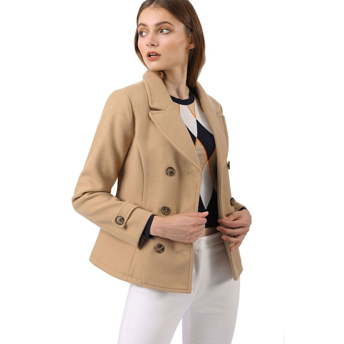 Aprsfn Womens Double-Breasted Notched Lapel Midi Wool Blend Pea Coat Jackets