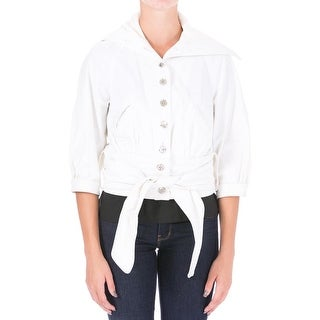 Catherine Malandrino Womens Poplin Ribbed Trim Cropped Jacket - 4