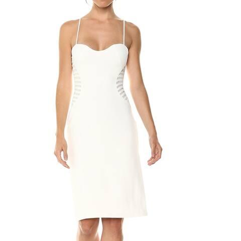 Halston Heritage Womens Sheath Dress White Ivory Size 12 Strip-Applique