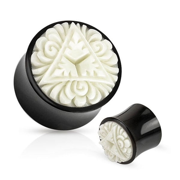 Triangle Leaves Floral White Hand Carved Bone Inlay Organic Buffalo Horn Saddle Fit Plug (Sold Indiv.)