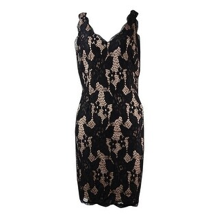 Adrianna Papell Women's Deep V-Neck Lace Sheath Dress