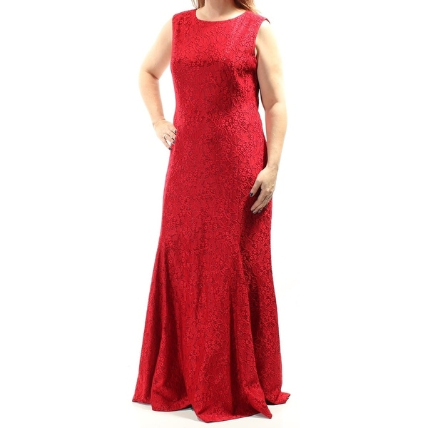 cfac9b23999 Shop Tahari By ASL NEW Red Women s Size 10 Metallic Floral Lace Gown ...
