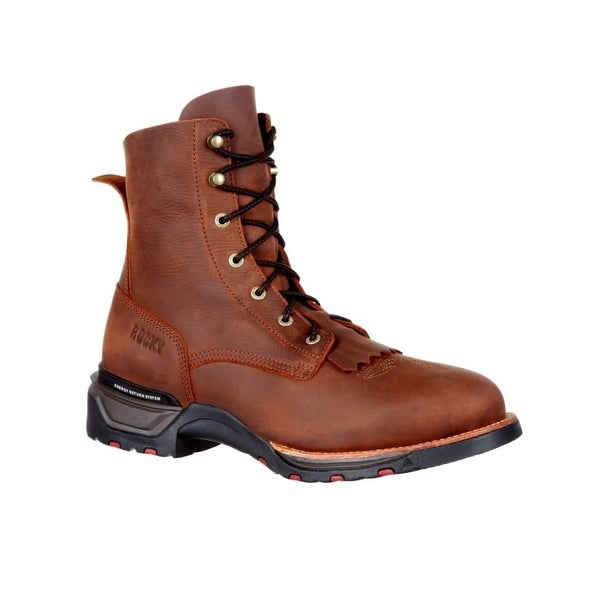 "Rocky Western Boots Mens 8"" Leather Lace Up Technoram Brown"