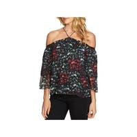 1.State Womens Blouse Metallic Cold-Shoulder