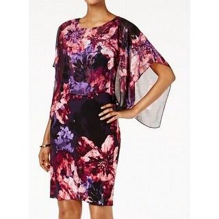 SLNY Purple Womens Size 8 Floral-Print Cape-Overlay Sheath Dress