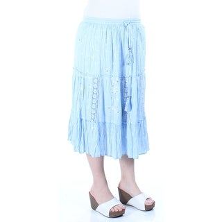 NY COLLECTION New 1437 Light Blue Floral Sequined Tie Eyelet Peasant Skirt S B+B