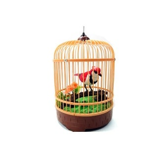 Singing Chirping Bird In Cage Realistic Sounds Movements Red