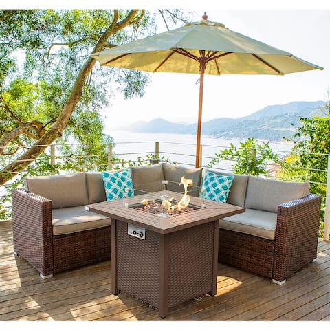 COSIEST 4-Piece Outdoo Wicker Patio Setional Set with Metal Fire Table