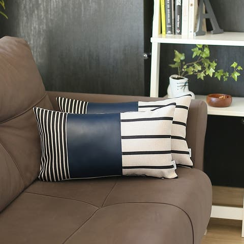 Vegan Faux Leather Throw Pillow Cover (Set of 2)