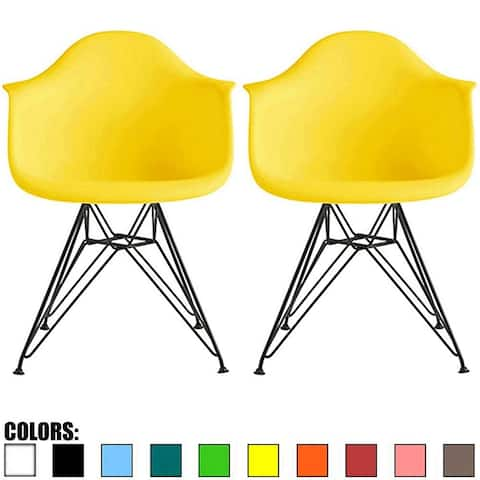 2xhome Set of 2 Color Modern Arm Chairs For Dining Room Kitchen Solid Molded Plastic Seat Dark Black Wire Eiffel Legs DSW