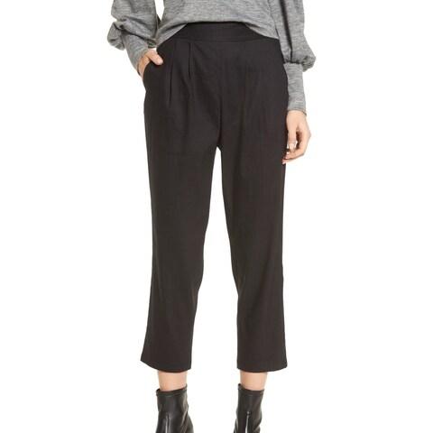 Leith Black Womens Size Medium M Crop Pleated Straight Dress Pants