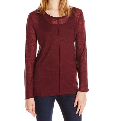 Lysse Womens Top Deep Red Size XS Knit Sheer Exposed-Seam Scoop Neck