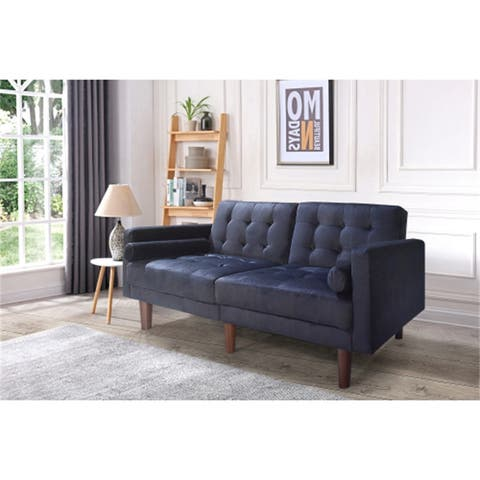 2 Seat Folding Futon Sofa Bed With 2 Pillows and Wood Legs,Velvet
