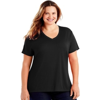 Just My Size Cool DRI® Short-Sleeve Women's V-Neck Tee - Black - Size - 1X