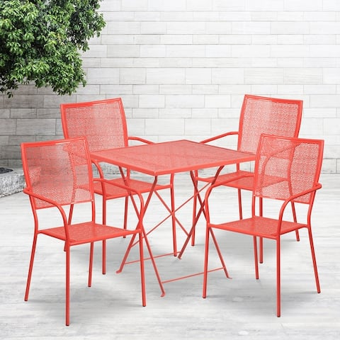 """28"""" Square Lt Gray Indoor-Outdoor Steel Folding Patio Table Set with 4 Chairs"""