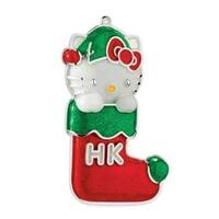 Carlton Cards Heirloom Sparkly Hello Kitty in Stocking Christmas Ornament - multi