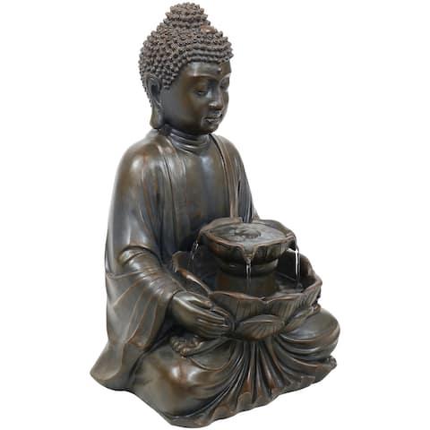 Sunnydaze Peaceful Buddha Electric Outdoor Garden Water Fountain - 18-Inch