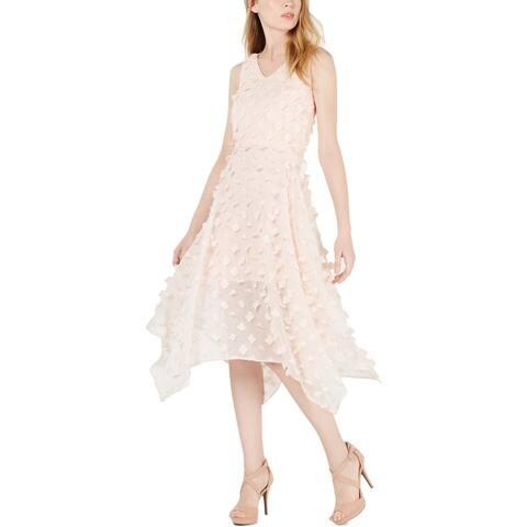 Kensie Womens Midi Dress Applique Sleeveless - Blush